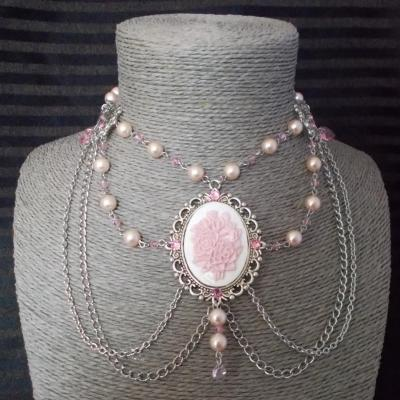 "Collier chocker ""Flowers"" blanc/rose"