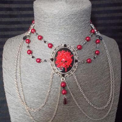 "Collier chocker ""Médusa"" noir/rouge"