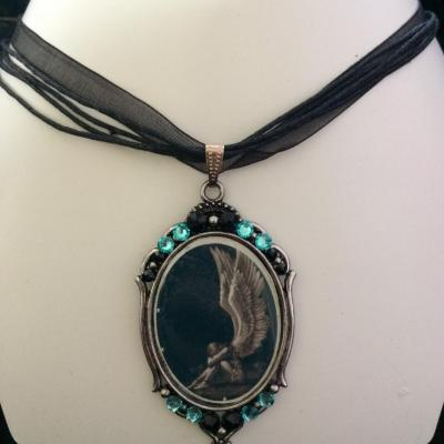 "Collier ""Angel"" aquamarine/jet"