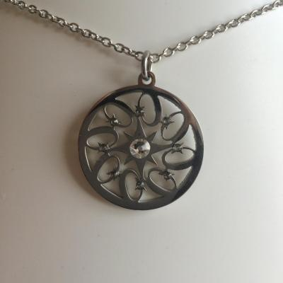 "Pendentif ""Fire wheel"" crystal/black diamond"