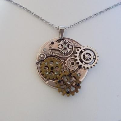 "Pendentif ""The gears"" black diamond"