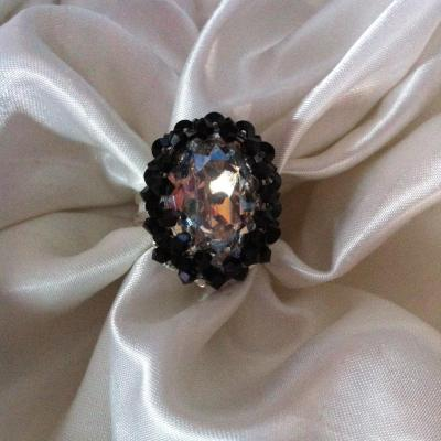 "Bague ""Anna"" crystal moonlight/jet"