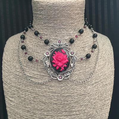 "Collier chocker ""Rosa"" noir/fuschia"